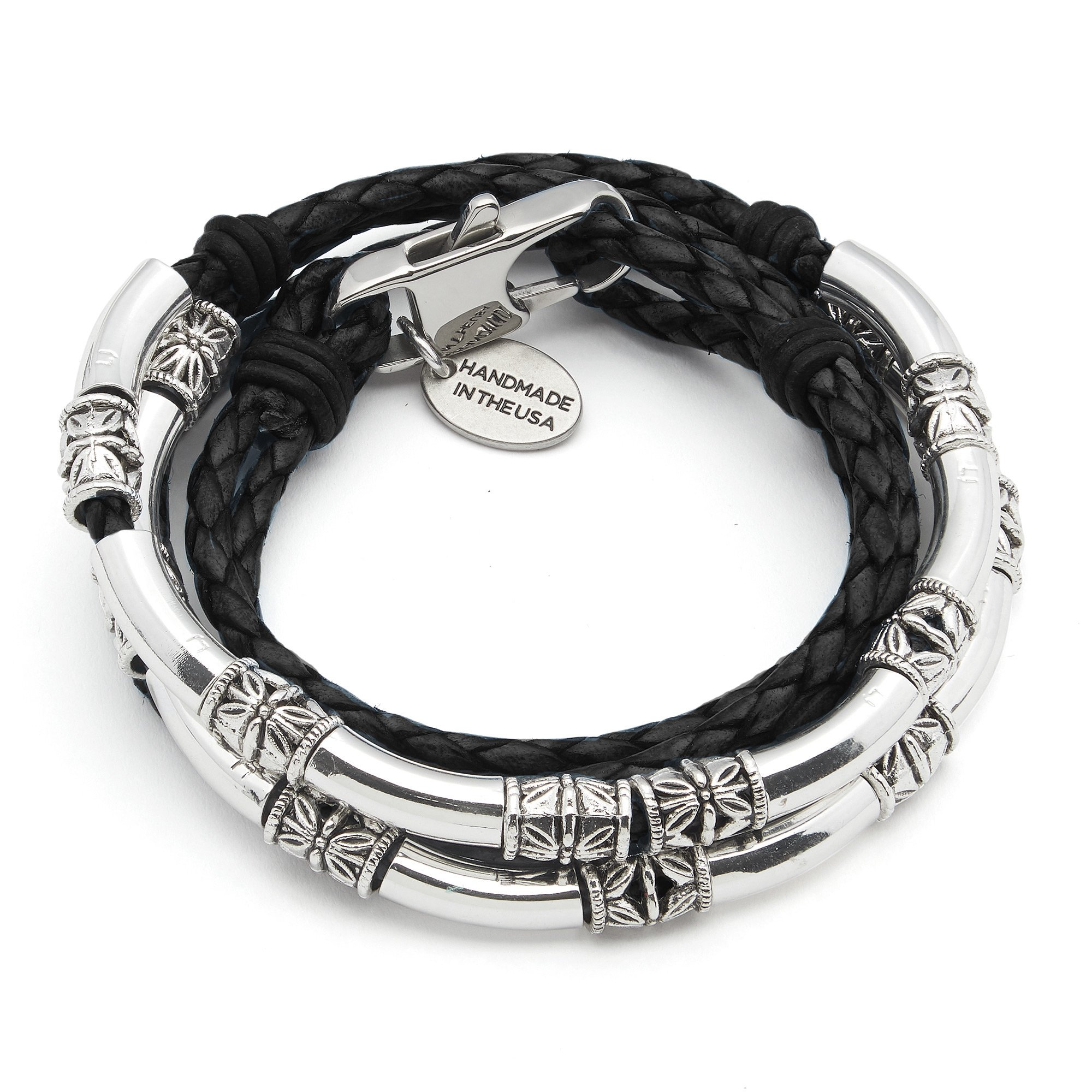 Lizzy James Mini Maxi Silver Plated Braided Leather Wrap Bracelet in Gloss Black Leather (MEDIUM)