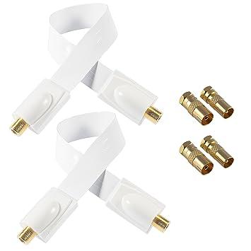 Poppstar 2 Cables Sat para Ventana, de 28 cm (Cable coaxial Muy Plano,