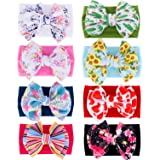 inSowni 8 Pack Big Sunflower Flower Bow Super Stretchy Nylon Headbands Turban Headwraps Hair Accessories for Baby Girls Toddlers Infants Kids