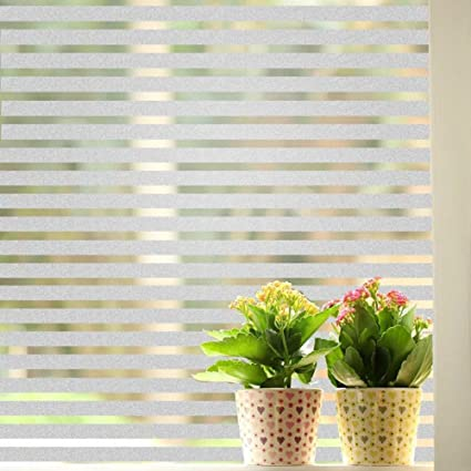 Coavas Stripes Frosted Window Film Static Cling Privacy Stained Glass Decorative Films For Home