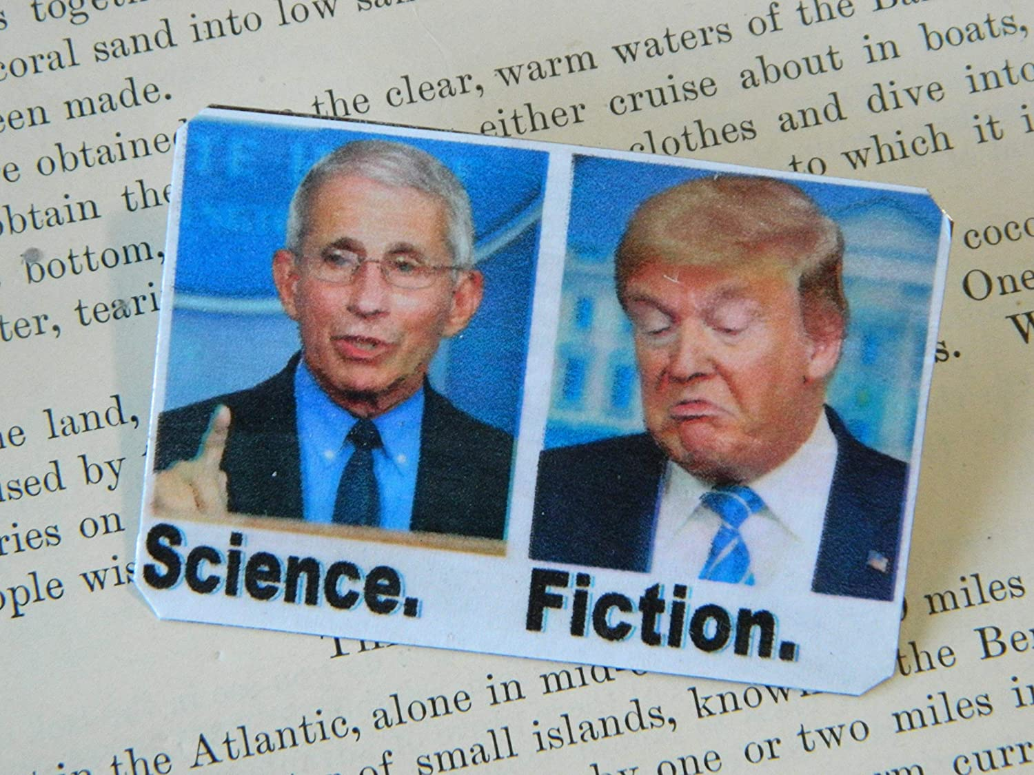 Fauci Is Science Trump Is Fiction Mixed Media Jewelry Dr Fauci Lapel Pin Dr