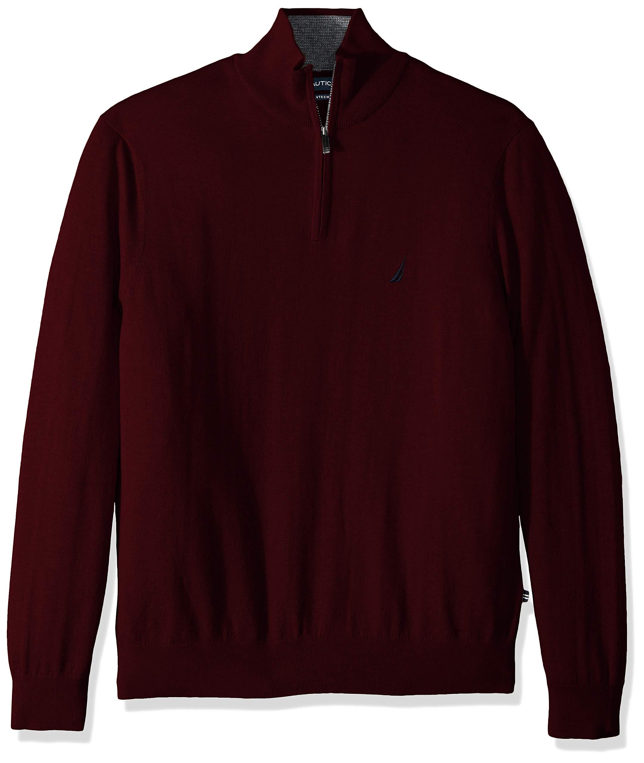 Nautica Men's Long Sleeve 1/4 Zip Sweater, Royal Burgundy, XX-Large