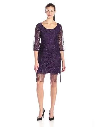 75c49828530 Tiana B Women's Three Quarter-Sleeve Lace Shift Dress with Fringe Hem