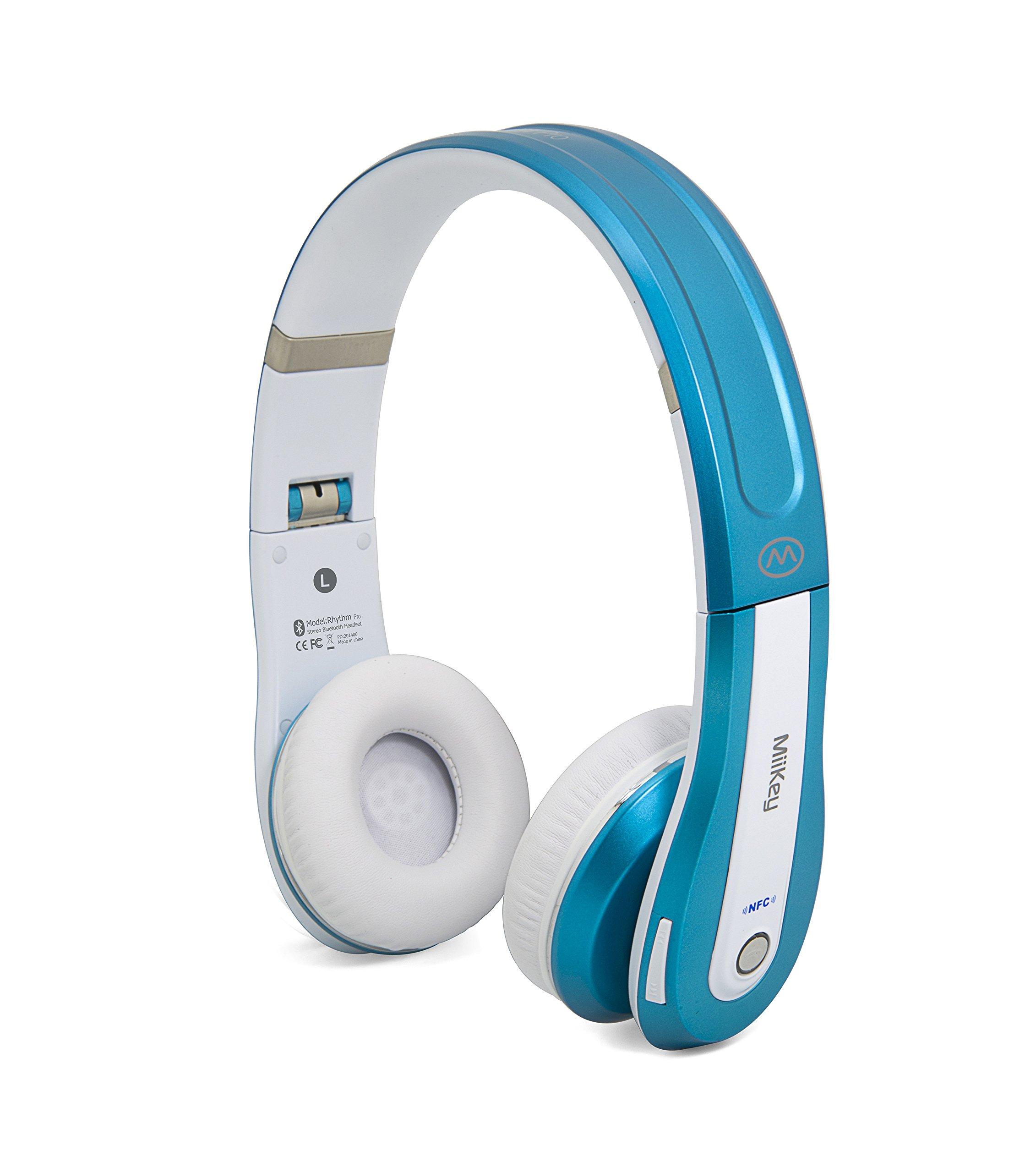 MiiKey Rhythm Pro White/Blue Wireless Bluetooth 4.0,NFC,Multi-connect Headphone with Microphone & HD Audio