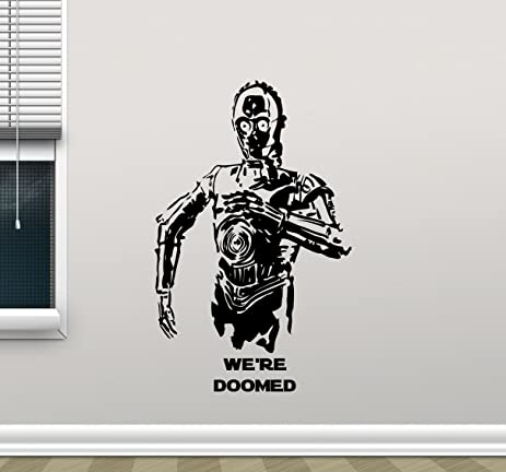 Star wars c 3po wall decal were doomed c3po droid character quote living