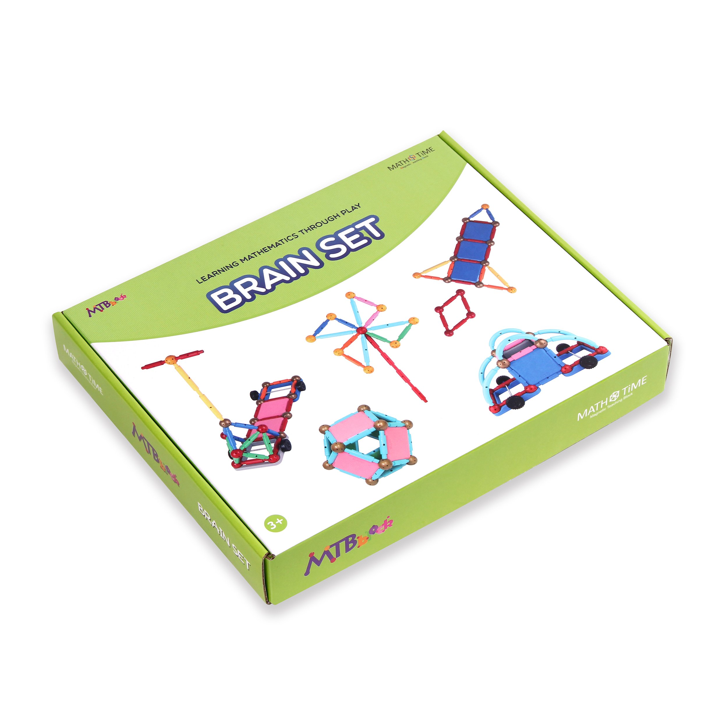 MTBblock [Mathtime Educational Toy DIY Toy and STEM Toy for Children l Creative Learning of Mathematical Figures Using Magnetic Block, Brain Set