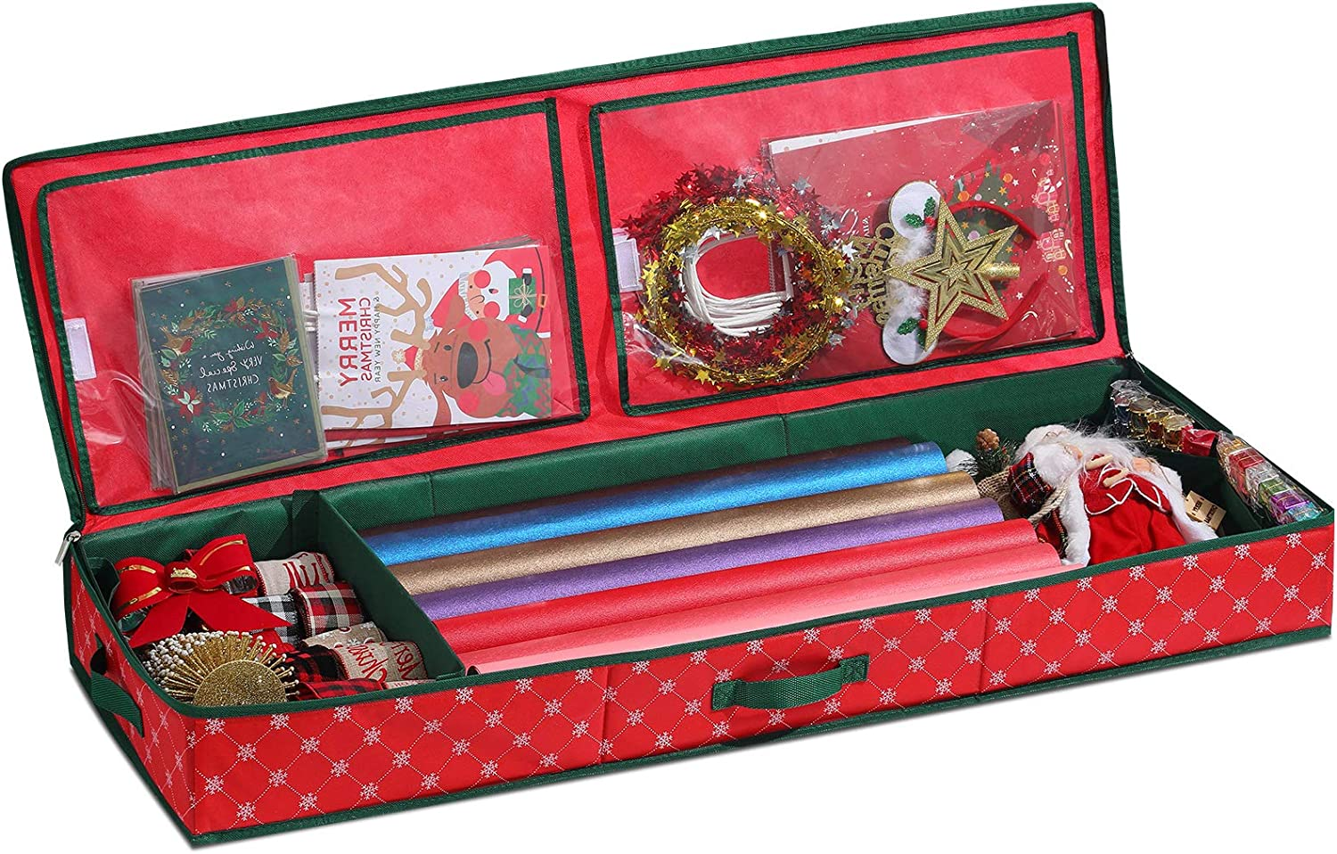 Christmas Wrapping Paper Storage Organizer [1 pack], Gift Wrap Storage Boxes Container for Ribbon, Card and Bows storage, Under Bed Storage Container for Holiday Decoration Storage, Paper Rolls