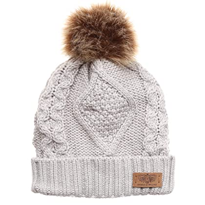 cb90ce3714147 ... ANGELA   WILLIAM Women s Winter Fleece Lined Cable Knitted Pom Pom  Beanie Hat with Hair Tie ...