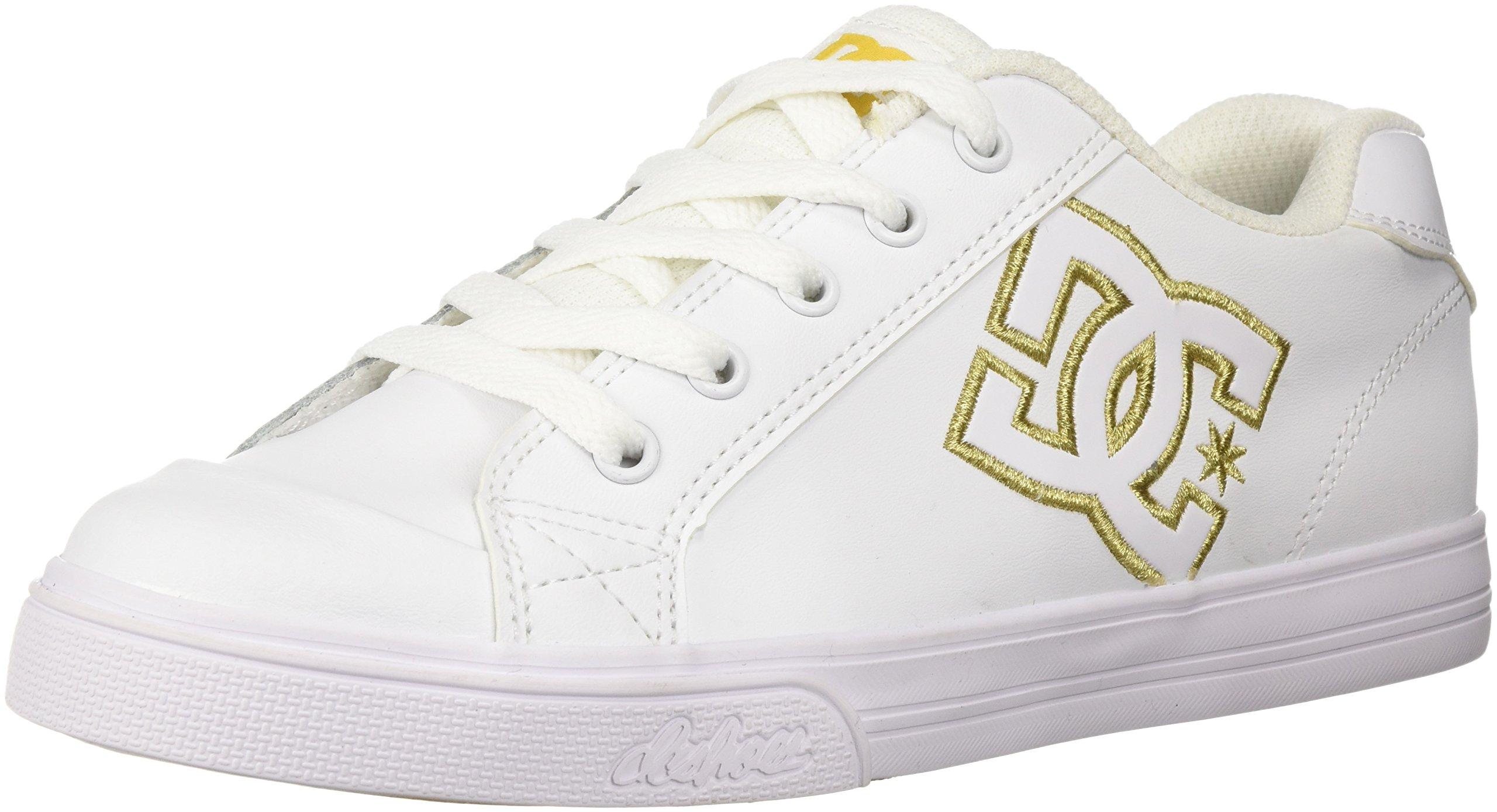 DC Girls Youth Chelsea SE Skate Shoes, White/Gold, 1 M US Little Kid