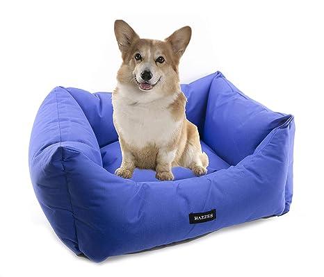 Cama de Perros, Cesta para Perro o Gato, Sofá para Perros Impermeable, Lavable y con cojín Extraible. Colores Rojo, Azul o Negro. (S, Azul)