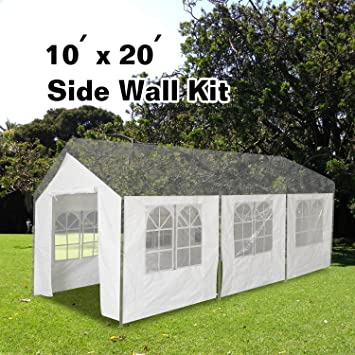 VidaGoods Carport Garage Side Wall Kit 10x20 ft Tent Portable White Car Shelter -- 8 : carport tent 10x20 - memphite.com