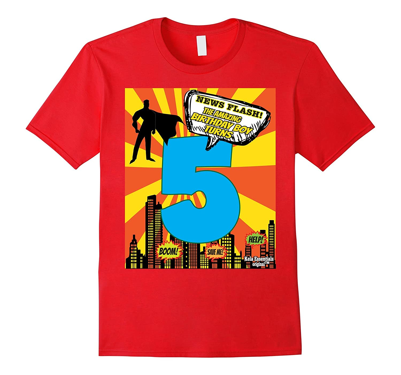 Superhero Birthday Shirts For Boys Size 5 Five Party Theme-TD