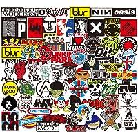 Sanmatic Pegatina de Rock and Roll 100Pcs, Pegatina Bomb Pack para Guitarra Batería Auriculares Etiqueta engomada de la…