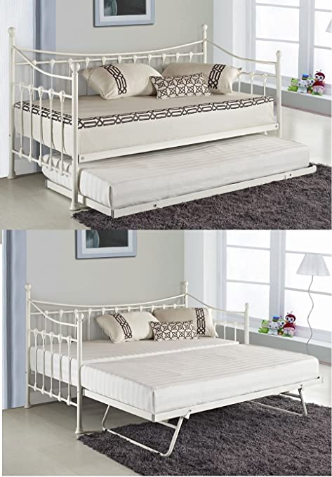 VERSAILLES GLOSSY VANILLA DAYBED WITH UNDER BED TRUNDLE 3FT SINGLE DAY FRAME