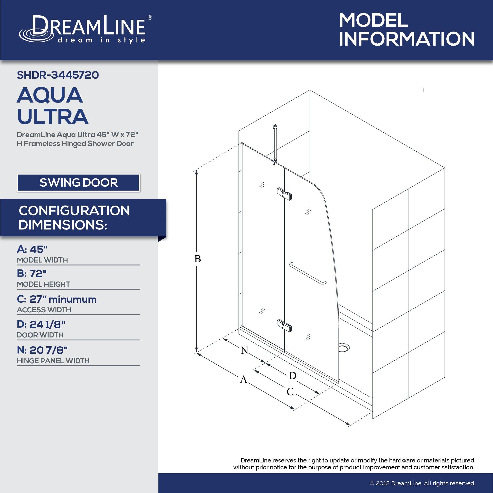 DreamLine Aqua Ultra 45 in. W x 72 in. H Frameless Hinged Shower Door in Brushed Nickel, SHDR-3445720-04 by DreamLine (Image #5)
