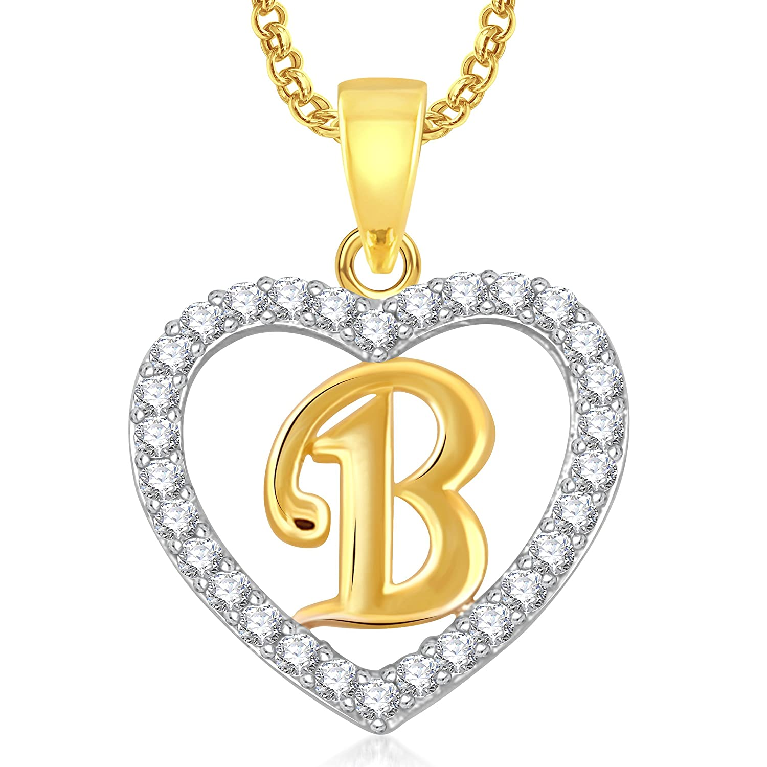 Charming B&q Home Design Software Part - 10: Buy Meenaz U0027Bu0027 Letter Heart Pendant Locket Alphabet For Women And Men With  Chain Gold Plated In American Diamond Cz Online At Low Prices In India |  Amazon ...