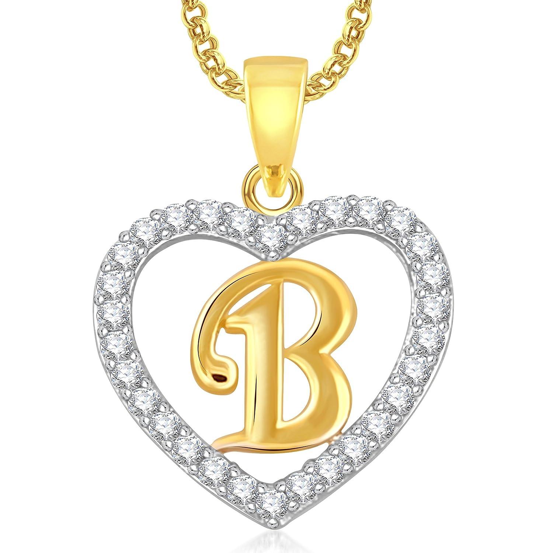 Nice B&q Kitchen Tiles Ideas Part - 8: Amazon.com: MEENAZ Womenu0027s U0027Bu0027 Letter Heart Pendant Locket Alphabet With  Chain Gold Plated In Jewelry Set Love: Jewelry