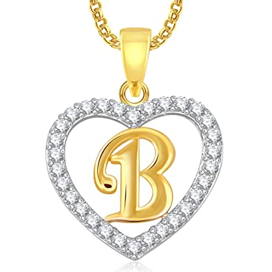 Meenaz U0027Bu0027 Letter Heart Pendant Locket Alphabet For Women And Men With  Chain Gold