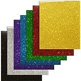 "Heat Transfer Vinyl Bundle 7 Colors Glitter HTV Iron-on Transfer Vinyl Sheets 12""x10"" for T-Shirt with Heat Press"