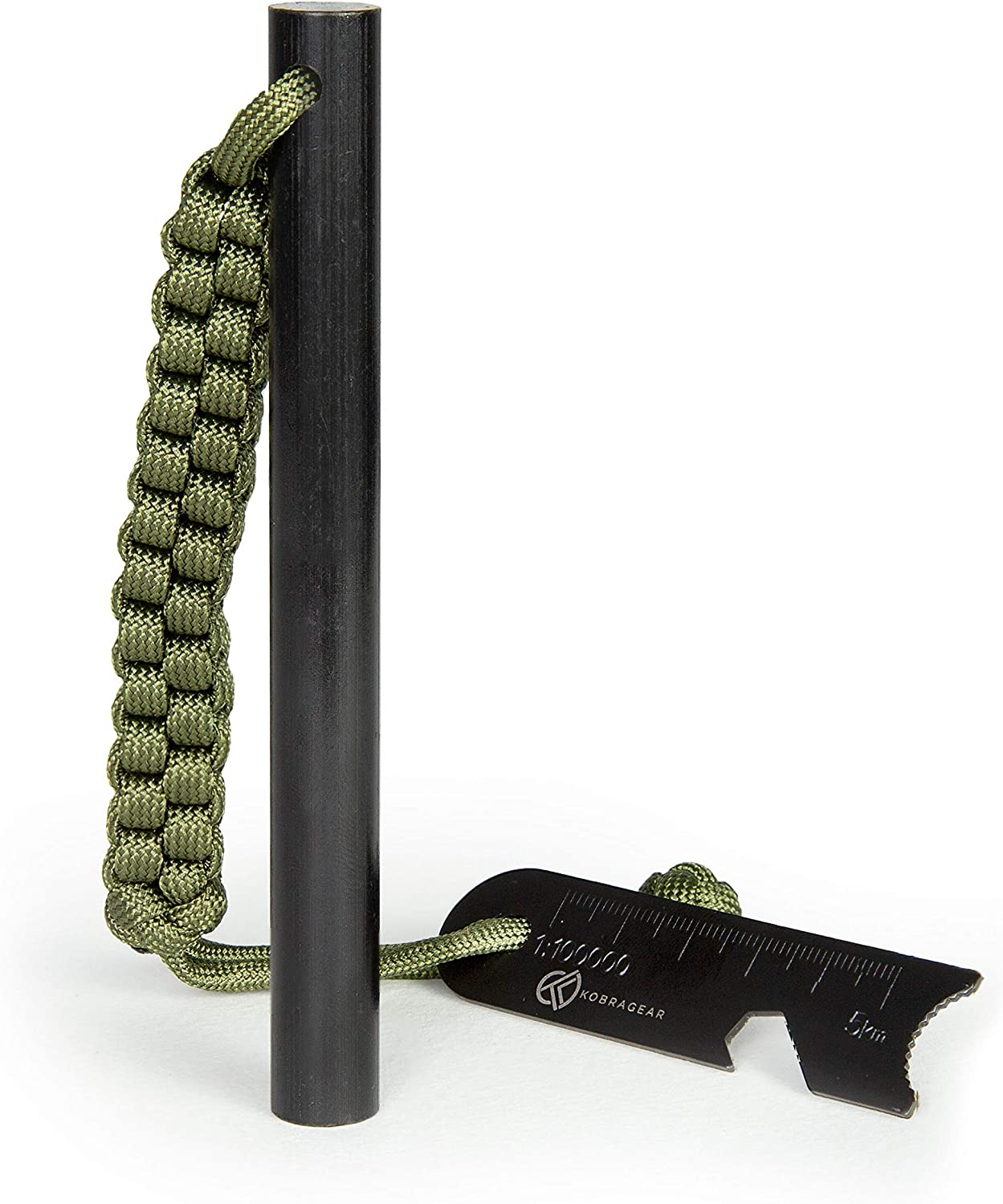 KobraGear Emergency Magnesium Fire Starter Ferrocerium Ferro Rod 5 inch x ½ inch with Survival Paracord Lanyard and Steel Multitool Striker (Green): Sports & Outdoors