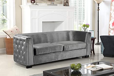 Amazon.com: Iconic Home Haida Sofa Velvet Upholstered Button ...