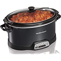 Hamilton Beach Programmable Slow Cooker, 7-Quart with Lid Latch Strap, Black (33474)