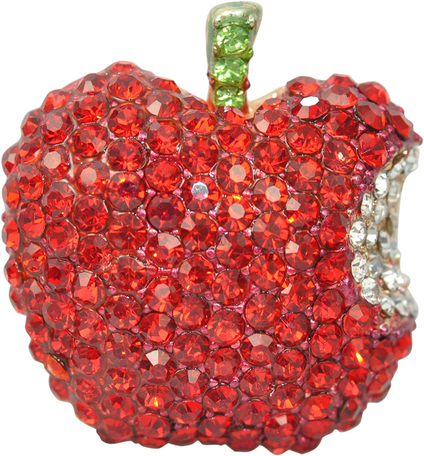 Gyn&Joy Ruby Red Rhinestones Fruit Brooch Pin