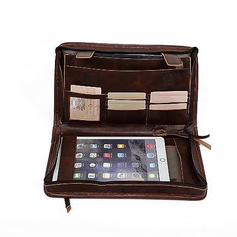 QEES profesional piel cartera portadocumentos de viaje A5 conferencia carpeta con muchas ranuras businees maleta para