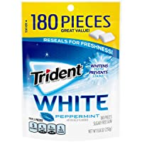 Amazon.com deals on 4-Pack Trident White Sugar Free Gum Peppermint 180-Count