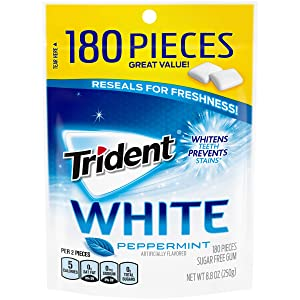 Trident White Peppermint Sugar Free Gum, Value Pack, 180 Pieces (1 Pack)