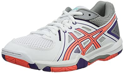 Asics Gel Task, Chaussures de Volleyball Femme, Blanc (WhiteFlash Coral