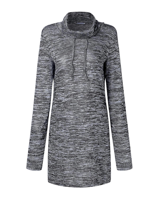 Dorimis Women Long Sleeve High Neck Tops Pocket Casual Drawstring Pullover Sweatshirt