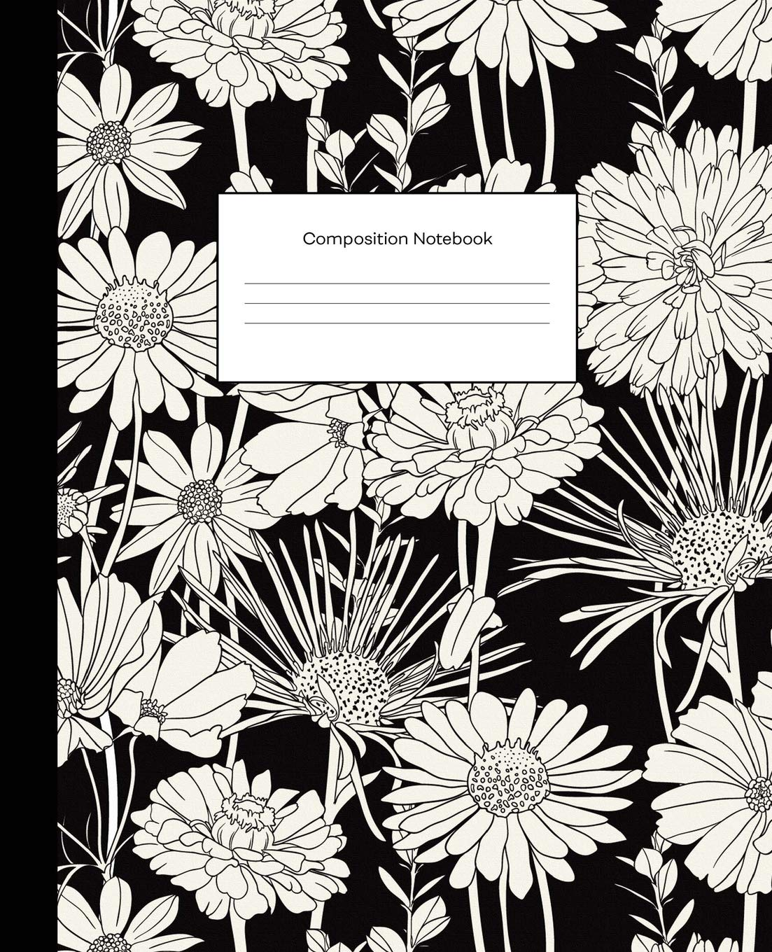 Amazon Com Composition Notebook Black White Floral Flowers