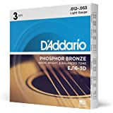 D'Addario EJ16-3D Phosphor Bronze Acoustic Guitar Strings, Light Tension – Corrosion-Resistant Phosphor Bronze, Offers a…