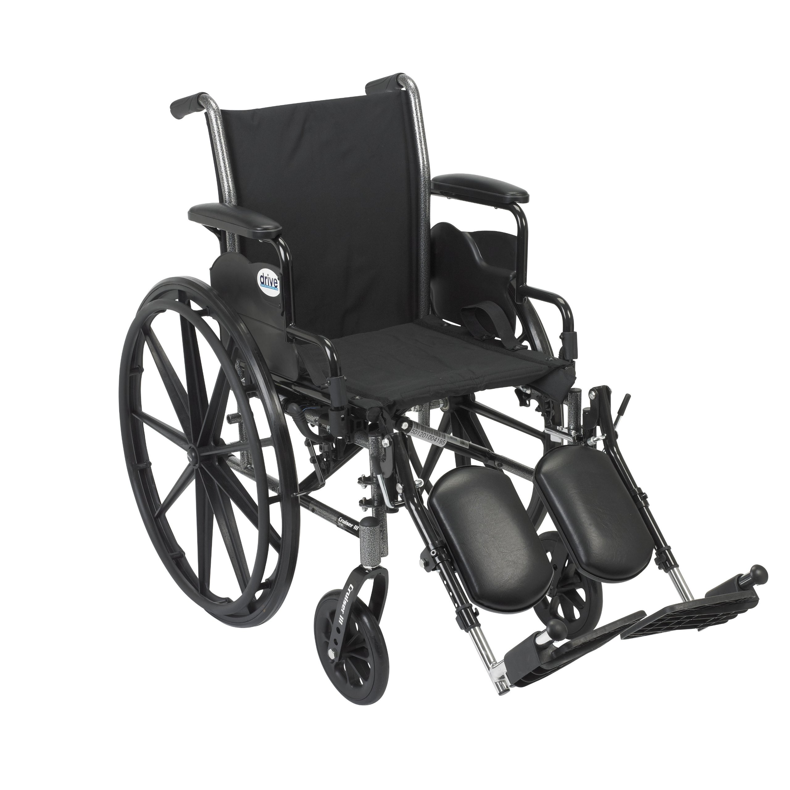 Drive Medical Cruiser III Light Weight Wheelchair with Various Flip Back Arm Styles and Front Rigging Options, Black, 20''