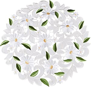 Embroidered Cut Work White Daisy on Ivory Doily Placemat 15 inches Round