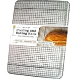"""Ultra Cuisine Stainless Steel Cooling Rack for Baking fits Jelly Roll Sheet Pan - Heavy Duty Wire Grid for Cookies, Cakes and Bread - Oven Safe for Roasting, Cooking, Grilling, Drying (10""""x14.75"""")"""