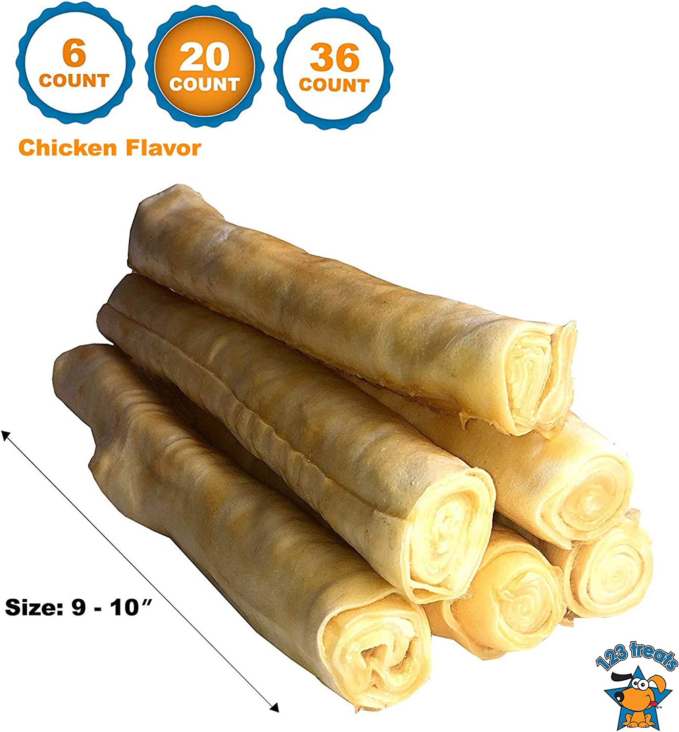 123 Treats Rawhide Retriever Roll with Beef or Chicken 9 -10 Delicious Dog Stick Chews – All-Natural Grass-Fed Free-Range Dog Chews
