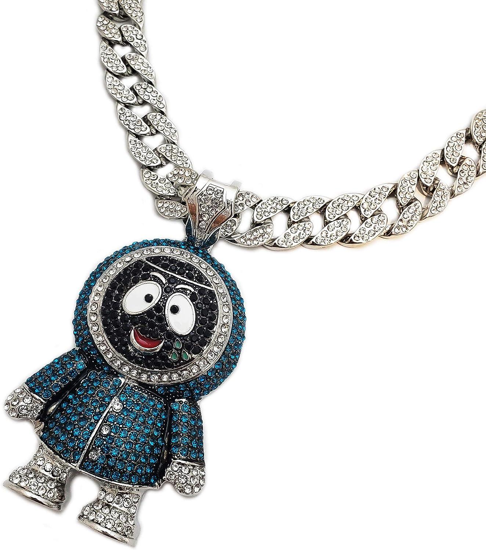 "BLINGFACTORY Hip Hop Iced Large Brick Squad Eskimo Pendant & 18"" 1 Row Tennis Choker Chain Necklace"