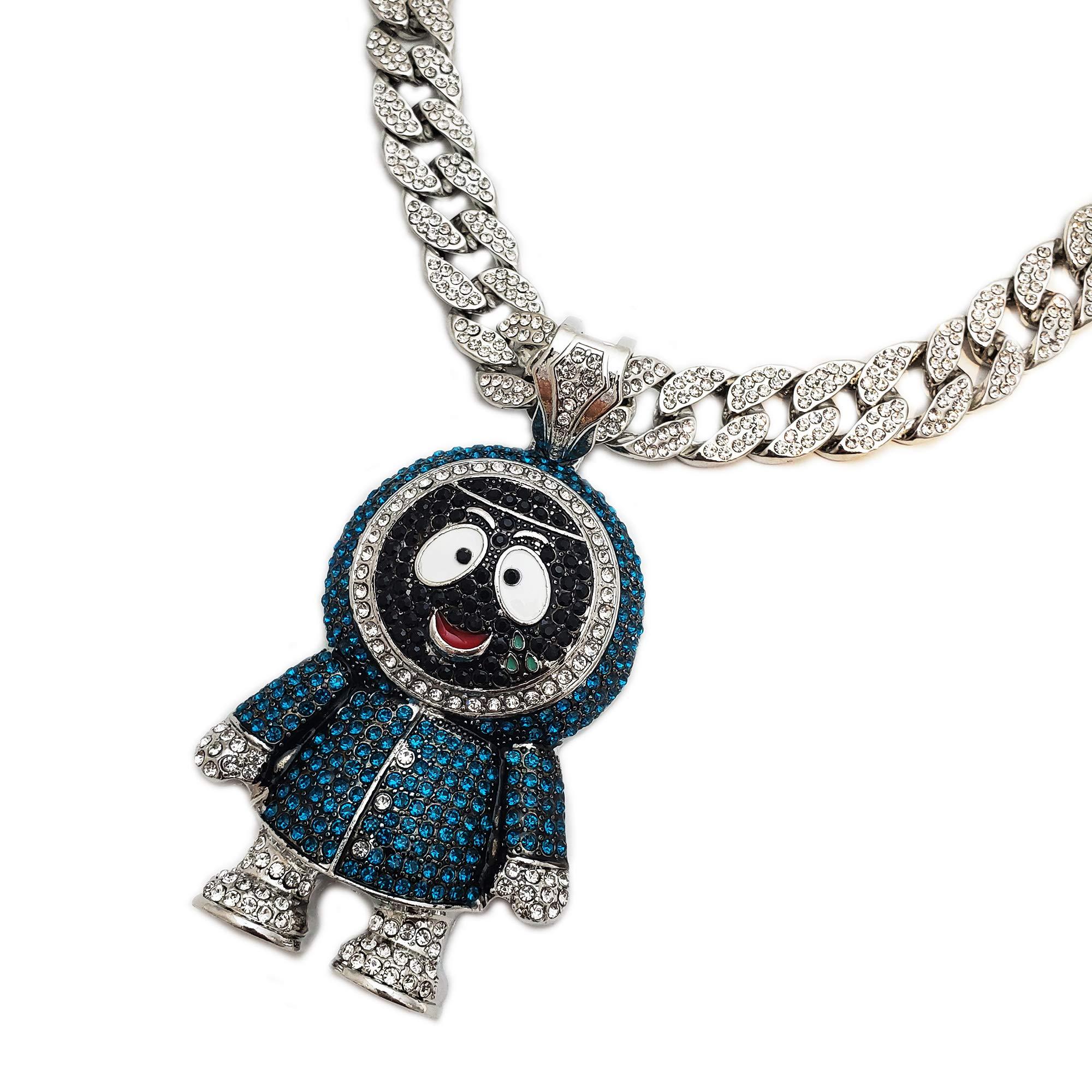 BLINGFACTORY Hip Hop Iced Out Large Brick Squad Eskimo Pendant & 18'' 1 Row Tennis Choker Chain Necklace