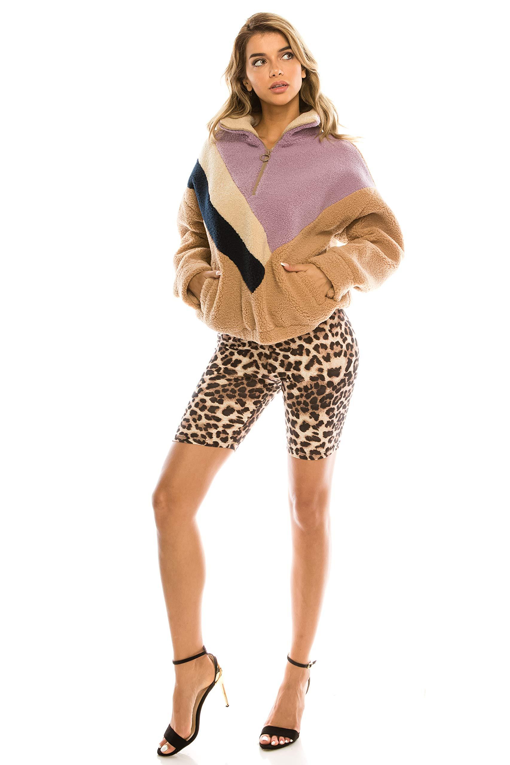 CNC STYLE B003 Women's Knee Length Stretch High Waist Leopard Print Active Bike Yoga Short Leggings, Leopard, Medium by CNC STYLE