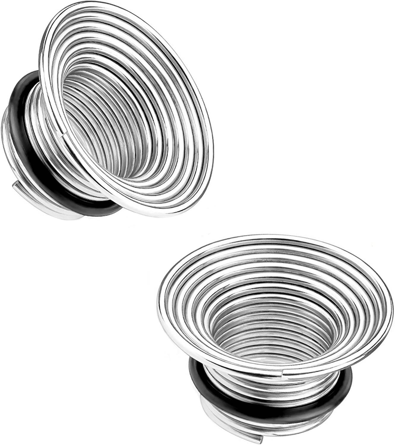 """316L STEEL FLEXIBLE SPRING COIL SINGLE FLARED EAR TUNNELS PLUGS 2G-5//8/"""" PAIR"""