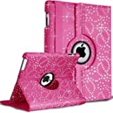 Ocean Planet9 360 Degree Swivel Leather Case for iPad 2 3 & 4, with Glittery Rhinestone, Built-in Stand, Screen Protector and Stylus Touch Pen - rosa con strass