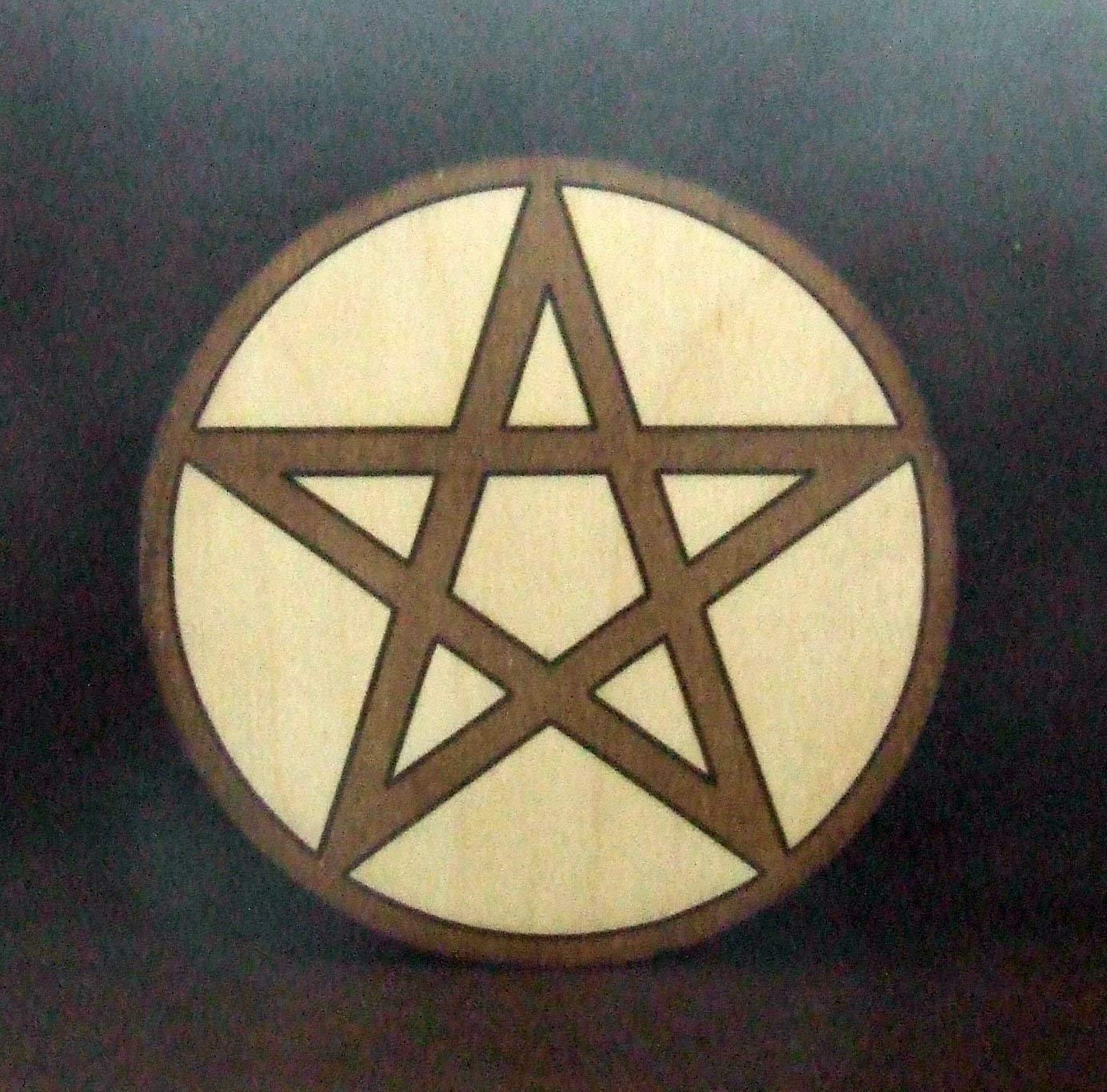 Pentacle handmade wooden wall plaque