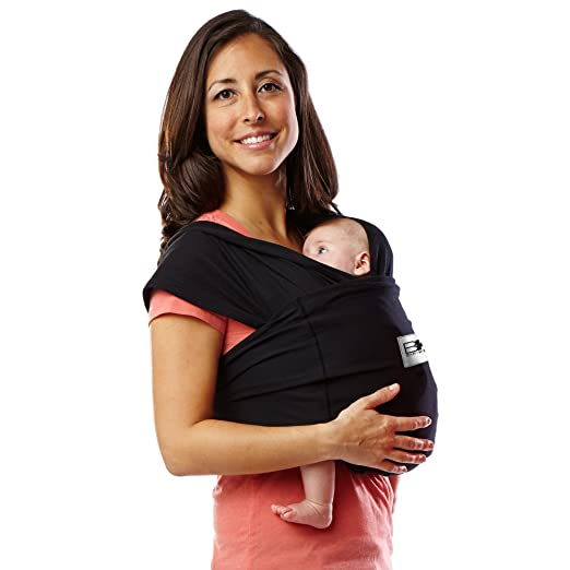 Baby K'tan Original Baby Wrap Carrier, Infant and Child Sling, Newborn up to 35 lbs. Best for Babywearing (Women 10-14 (M) Men Jacket 39-42, Black)