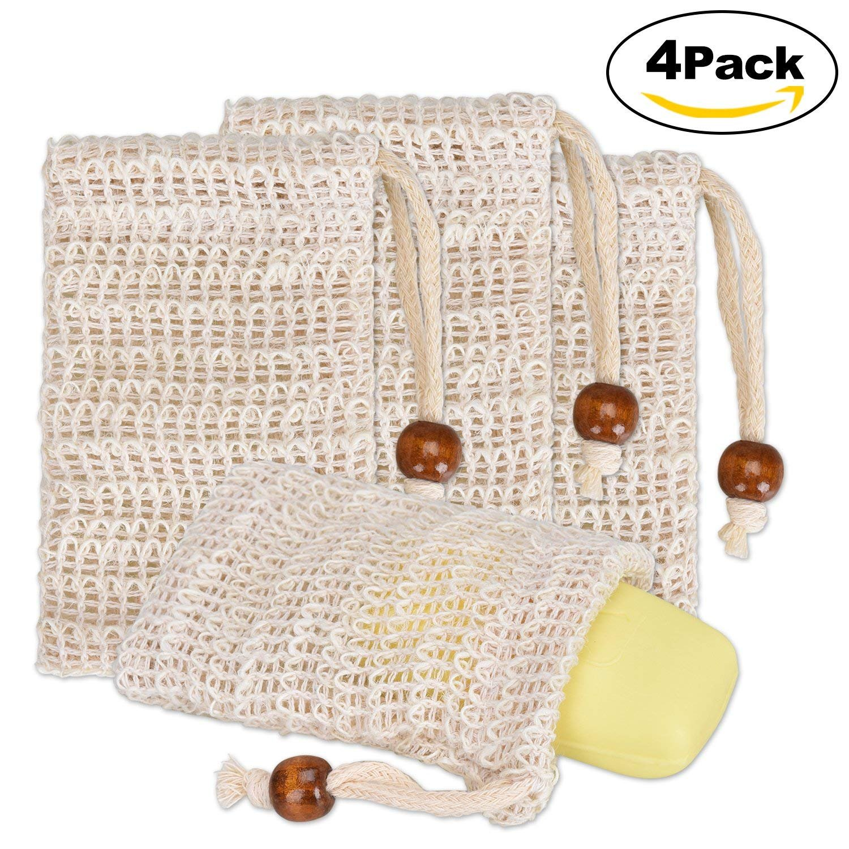 Lelengder 4x Seifensäckchen Bio, Seifensäckchen Sisal, Seifenbeute Natur, Aufschäumen und Trocknen der Seife, Peeling, Massage, Seifenbeutel | Seifensack | Seifenreste | Seifentasche Seifensäckchen Sisal