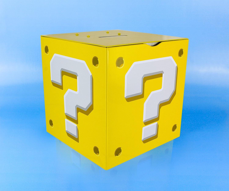 Multicolour 14 x 14 x 14 cm Super Mario Question Block Moneybox Tin