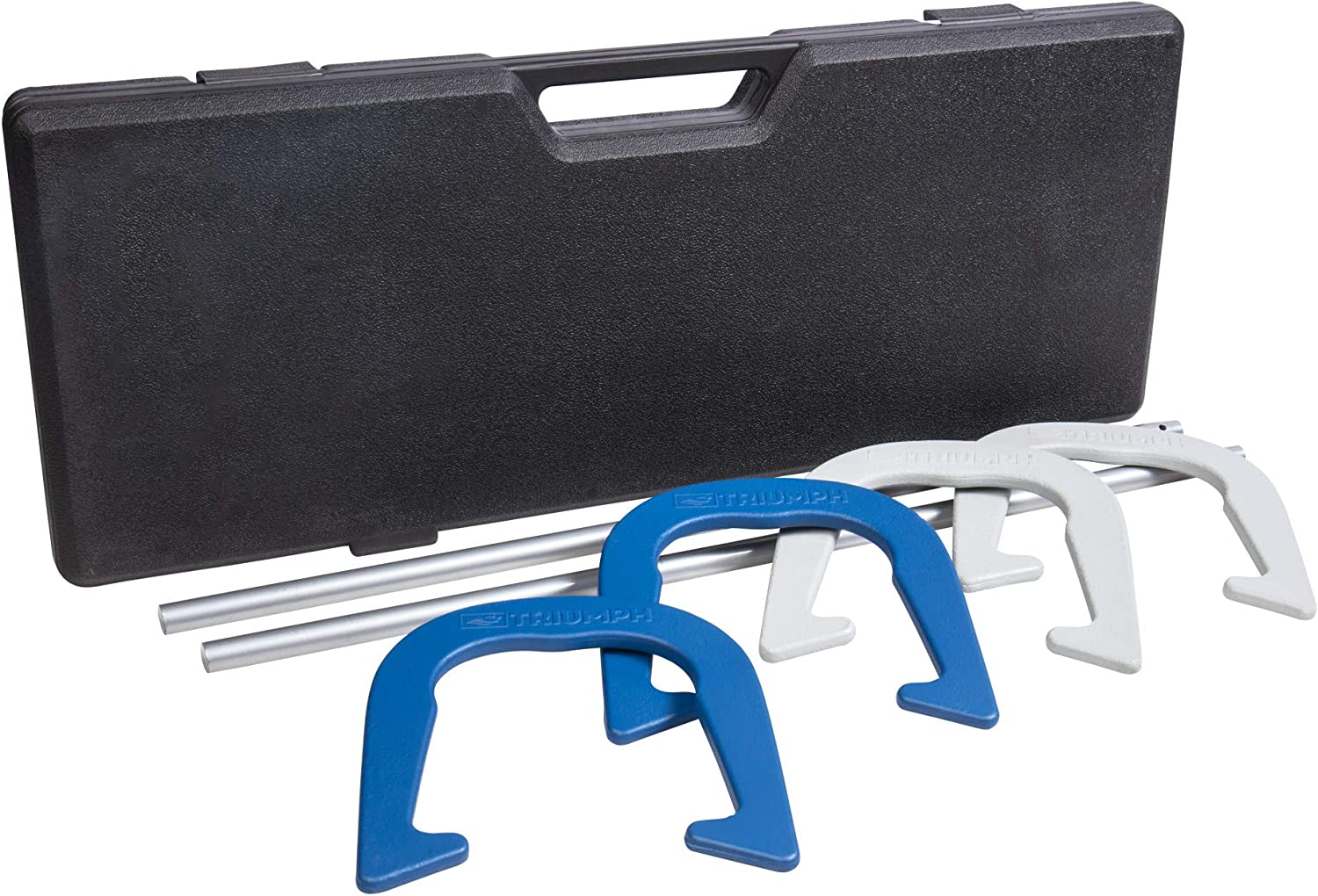 Triumph Premium Forged Horseshoe Set Complete with 4 Horseshoes, 2 Stakes and Hard Plastic Case with Locking Tabs for Transportation and Storage : Sports & Outdoors