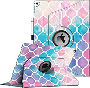 Fintie Rotating Case for iPad Pro 12.9 (2nd Gen) 2017 / iPad Pro 12.9 (1st Gen) 2015-360 Degree Rotating Stand Case with Smart Protective Cover Auto Sleep/Wake, Moroccan Love