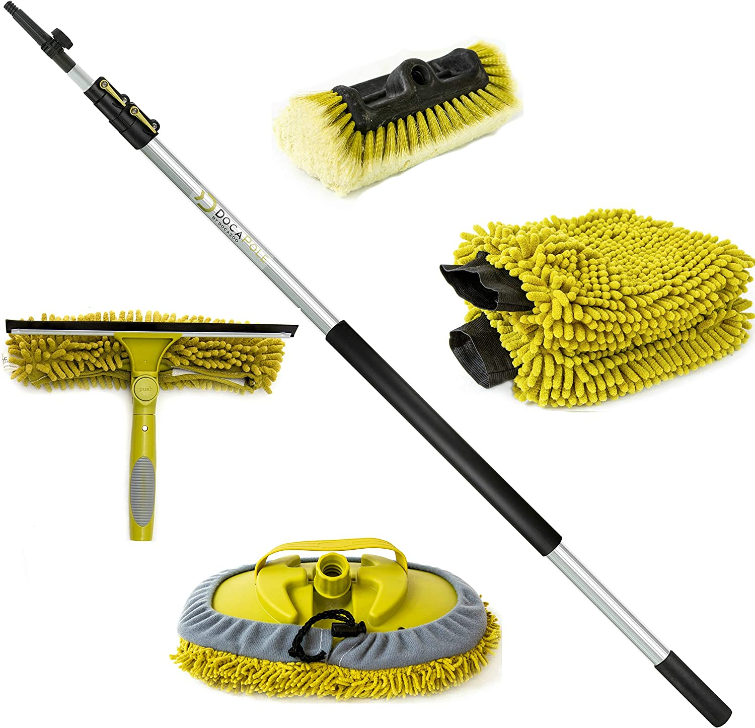 DocaPole 5-12 ft Ultimate Window Washing Kit with Squeege Scrubber, Cleaning Head, Soft Bristle Brush, 2X Wash Mitts